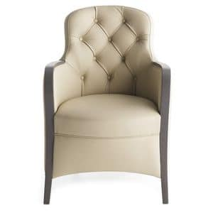 Euforia 00136K, Elegant armchair with tufted backrest