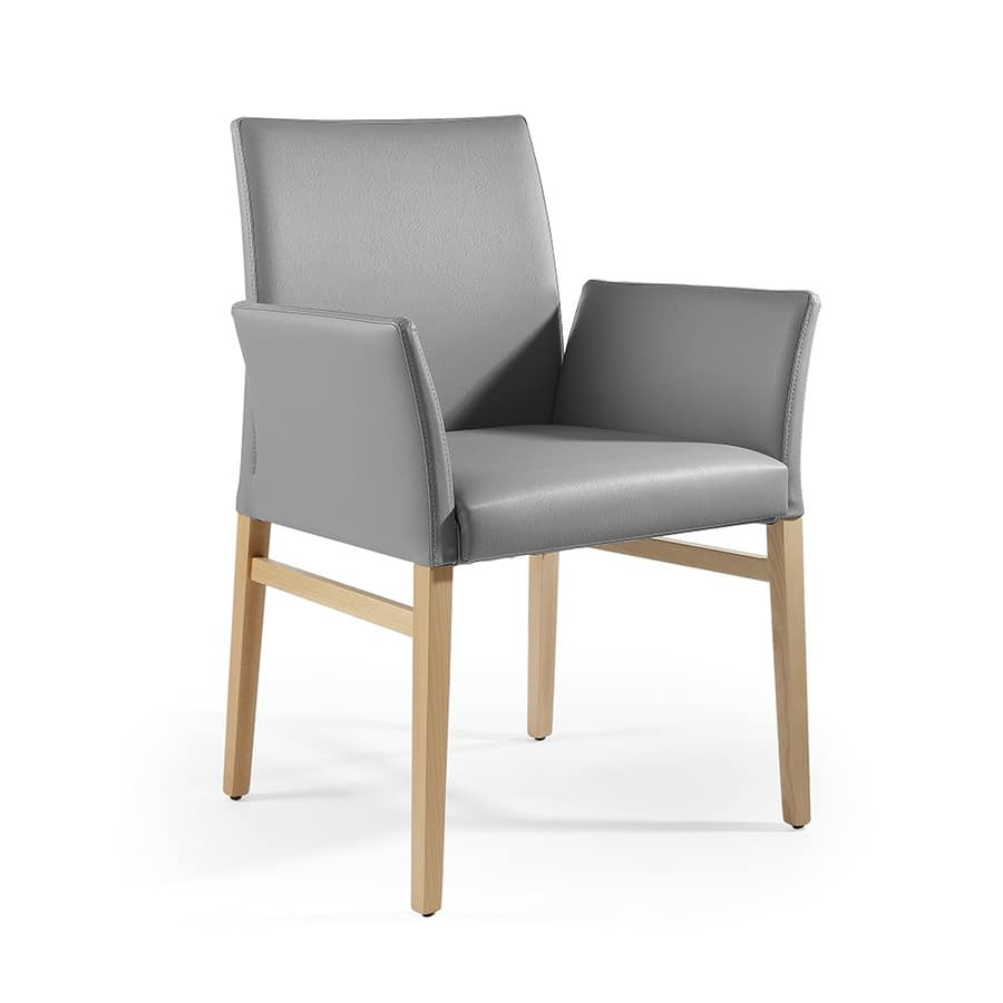 Eva br, Leather small armchair, solid wood legs
