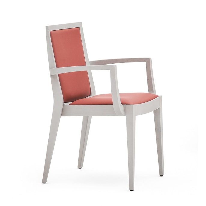 Flame 02121, Armchairwith arms in solid wood, upholstered seat and back, fabric covering, modern style