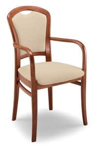 Giusy PL I, Sturdy padded chair with armrests, beech base