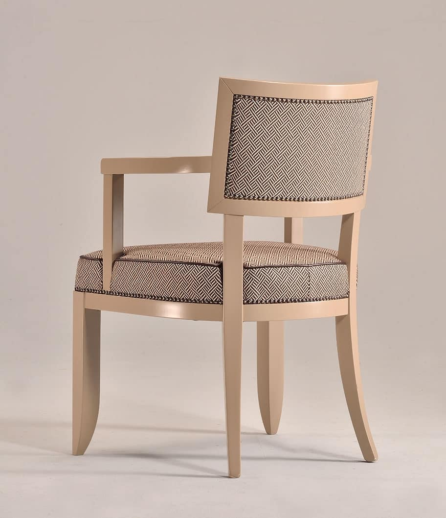 HOLLY armchair 8381A, Beech wood chair with armrests, padded, for kitchens