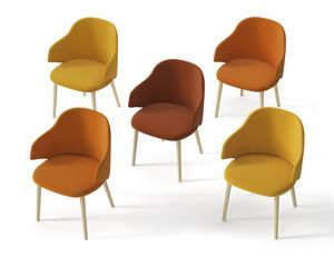 HOST, Upholstered armchair with wooden legs