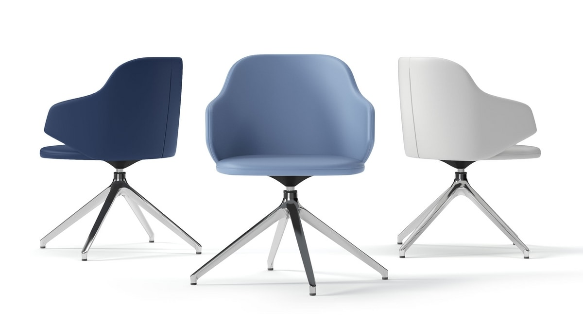 HOST, Swivel armchair with aluminum legs