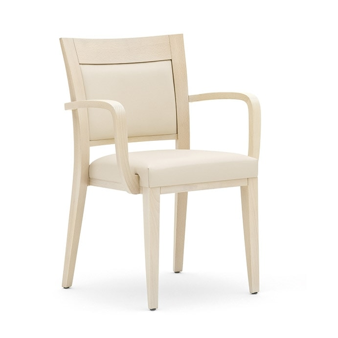 Logica 00927, Stacking chair, upholstered seat and back, wooden structure, for contract use