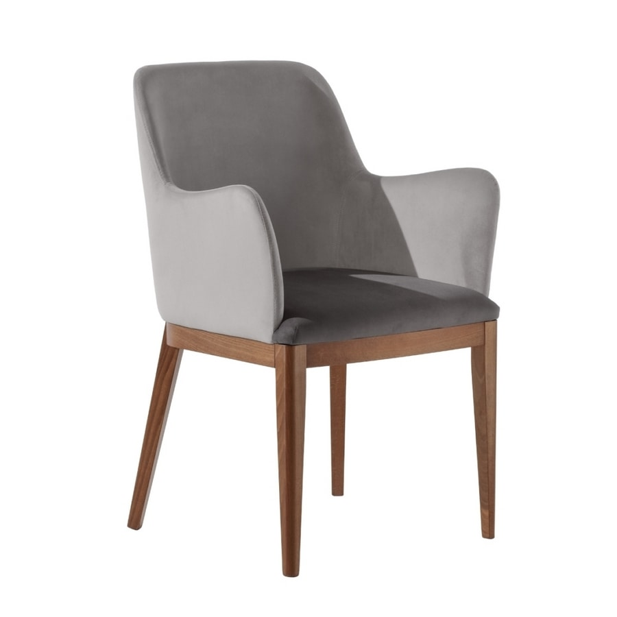 Margot P1, Upholstered armchair with shaped armrests