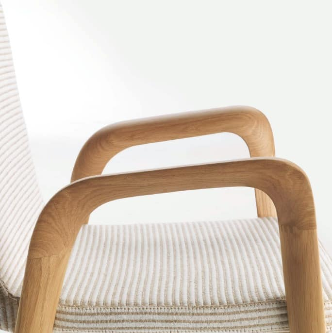 Mia, Linear chair made of solid oak, for Hotels