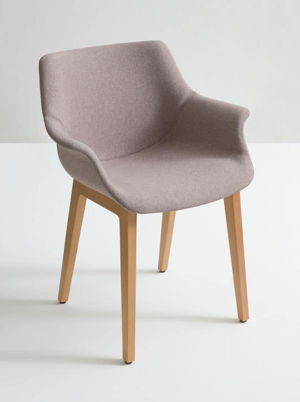 More UPH BL, Armchair with wooden base, essential style