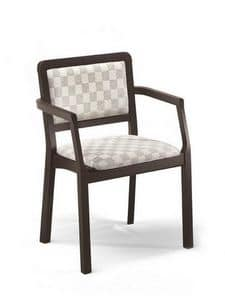 Morena PL-I, Chair with armrests, padded, for pizzerias and homes