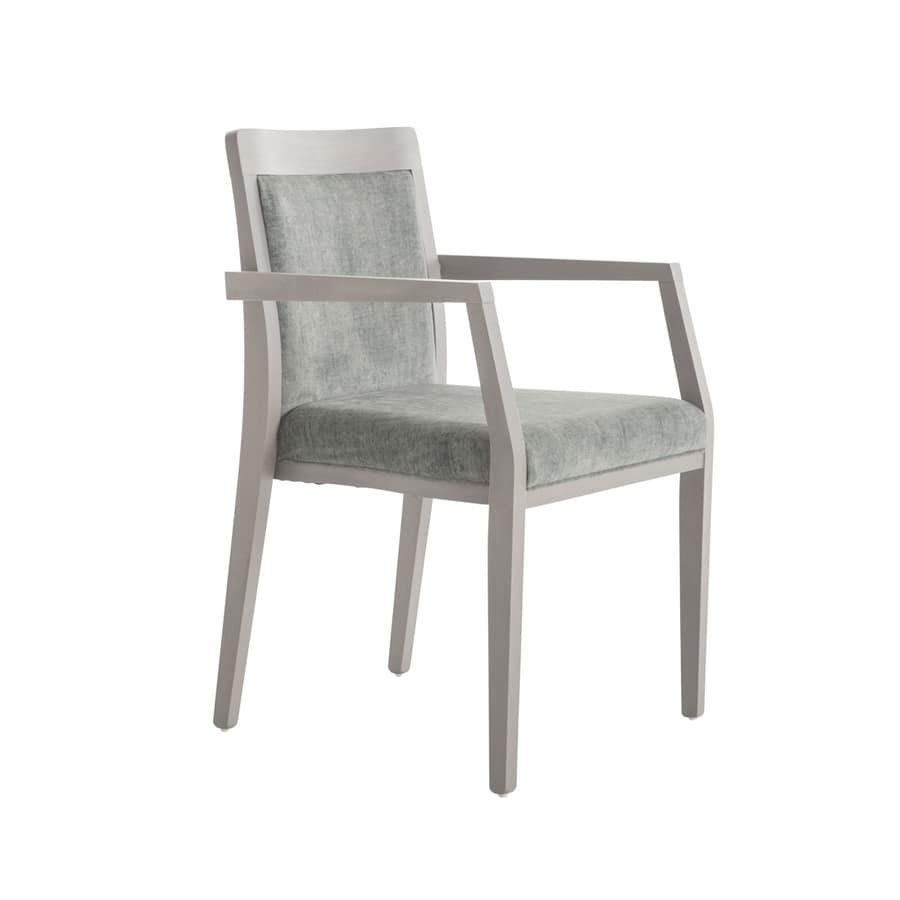MP49EFP, Stackable wooden chair with arms