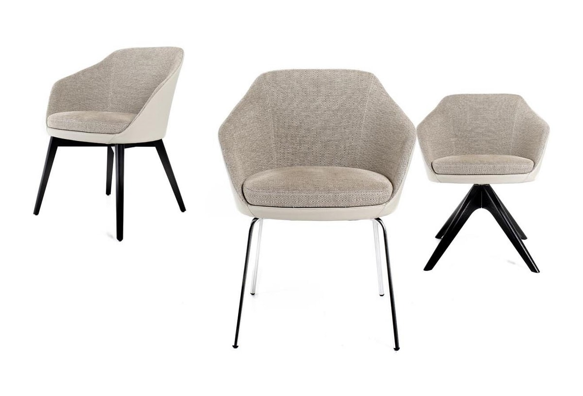 Nicki, Chair with double fabric leather cover