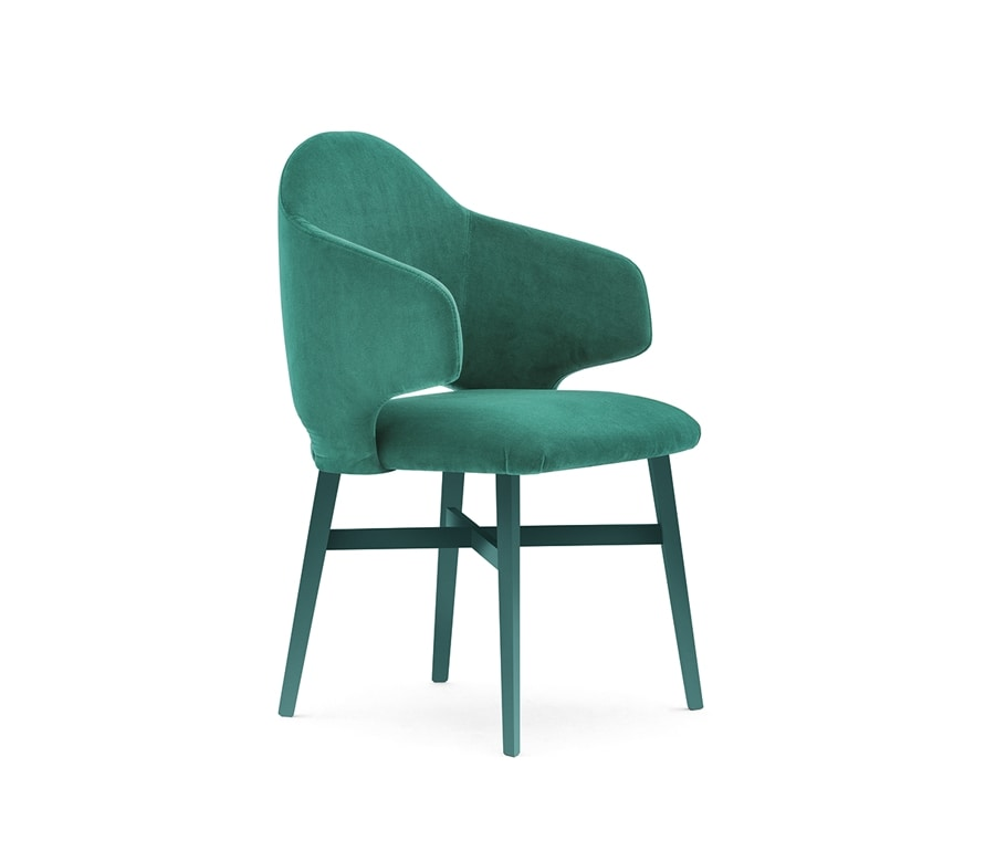 Niky 04721, Wrap-around small armchair with wooden legs