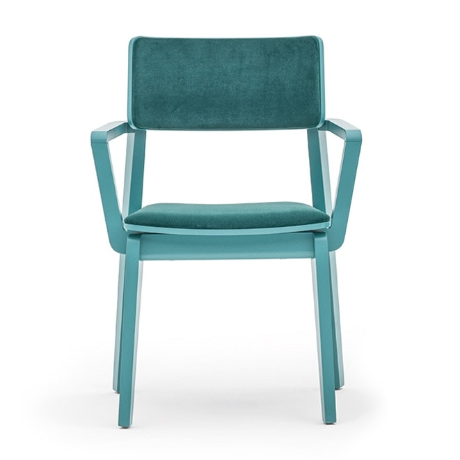 Offset 02823, Armchair in solid wood, upholstered seat and back, in a modern style.