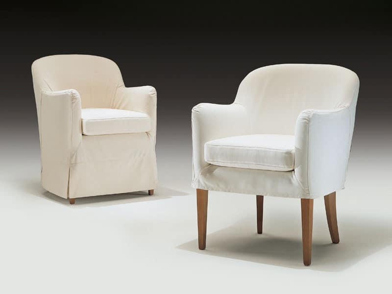 Olga, Modern armchair in wood and polyurethane, for contract use