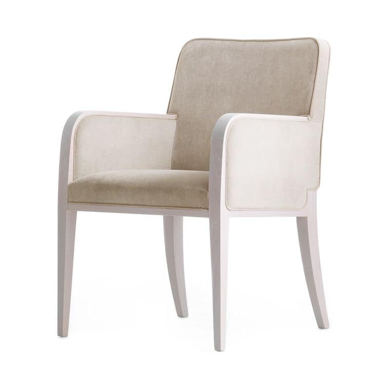 Opera 02231, Armchair in solid wood, upholstered seat and back, fabric covering, modern style
