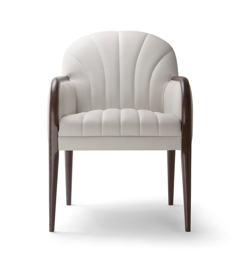 PARIGI ARM CHAIR 038 PO, Armchair with wooden armrests