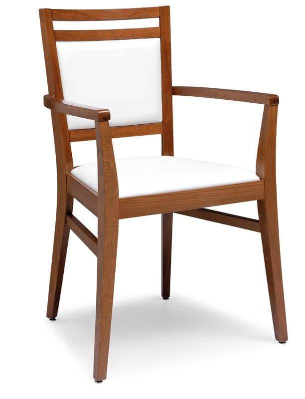 PL 4472 / CP, Armchair in wood, upholstered seat and back, for restaurants