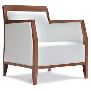 PL 49 EM, Armchair in wood,covered in eco-leather, for contract use
