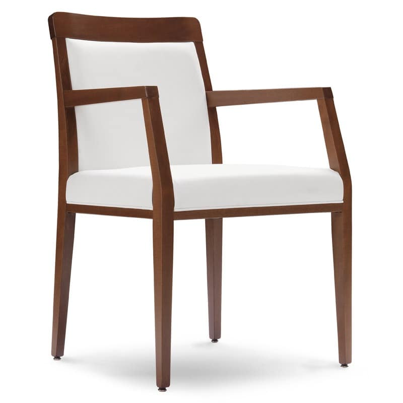 PL 49 EP, Wooden armchair, seat covered in faux leather, to restaurants and hotels