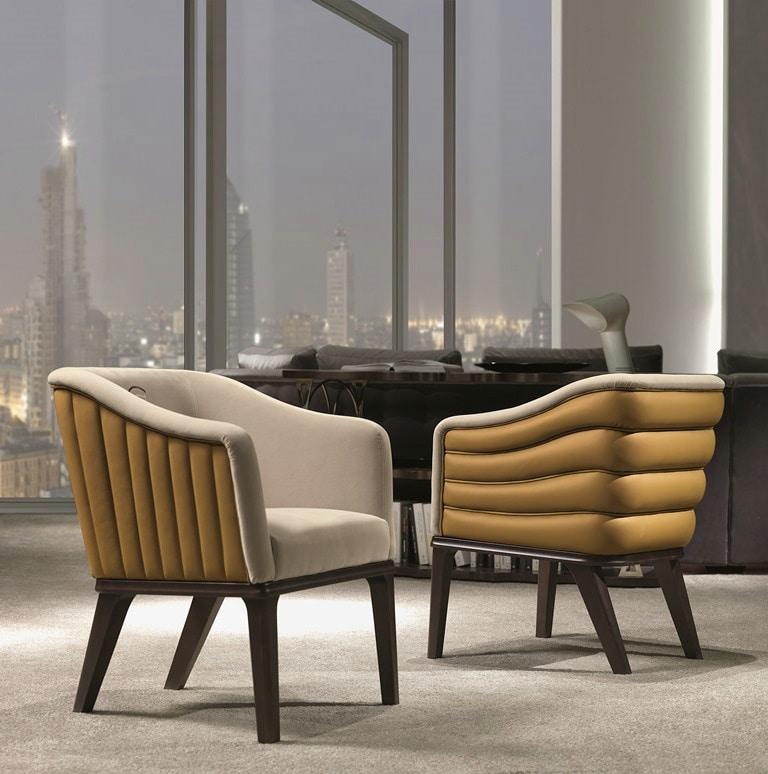 PO66 Club armchair, Armchair with horizontal stitching