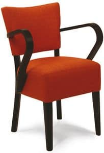 Portocervo P, Padded chair in painted wood, in various colors
