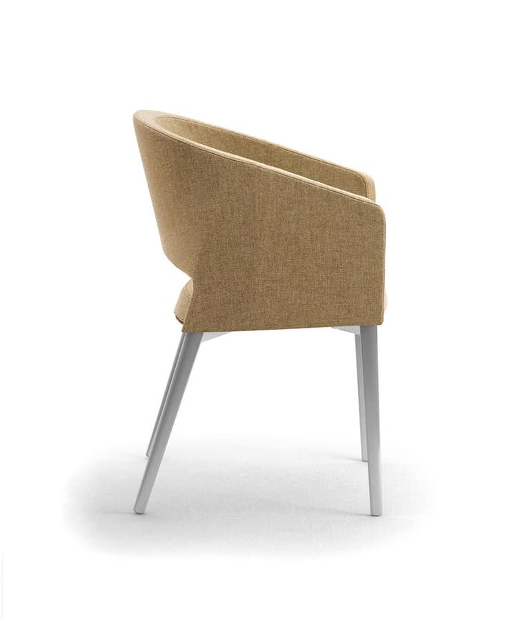 Reef 4G, Armchair with metal legs, in minimal style