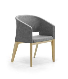 Reef 4G wood, Padded chair with wooden legs, in minimal style