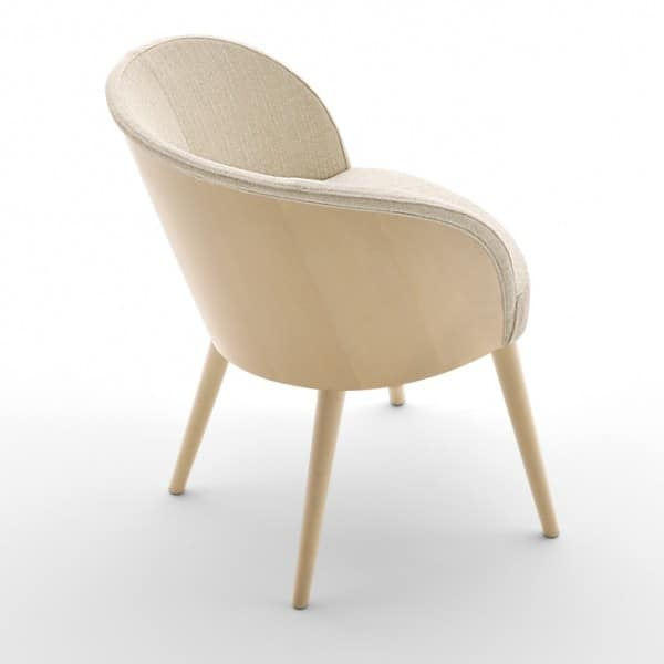 Rose 03037, Upholstered armchair with back of backrest in beech