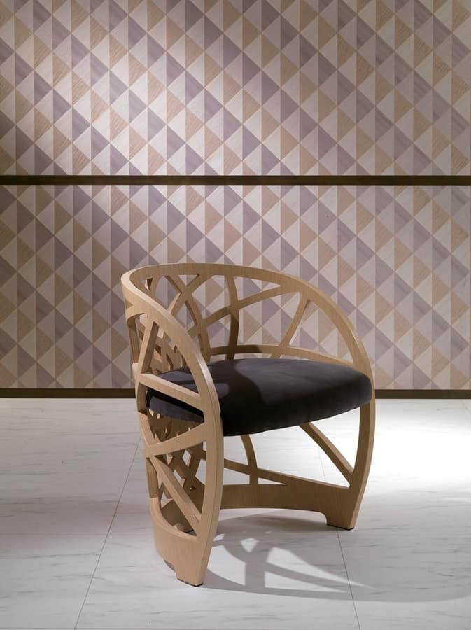 SE54 Galileo chair, Wooden chair with padded seat