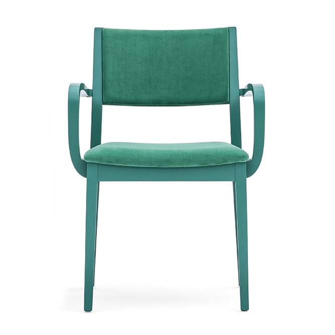 Sintesi 01522, Solid wood armchair with arms, upholstered seat and back, for contract and domestic environments