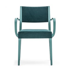Sintesi 01524, Solid wood armchair with arms, upholstered seat and back, for contract and domestic environments