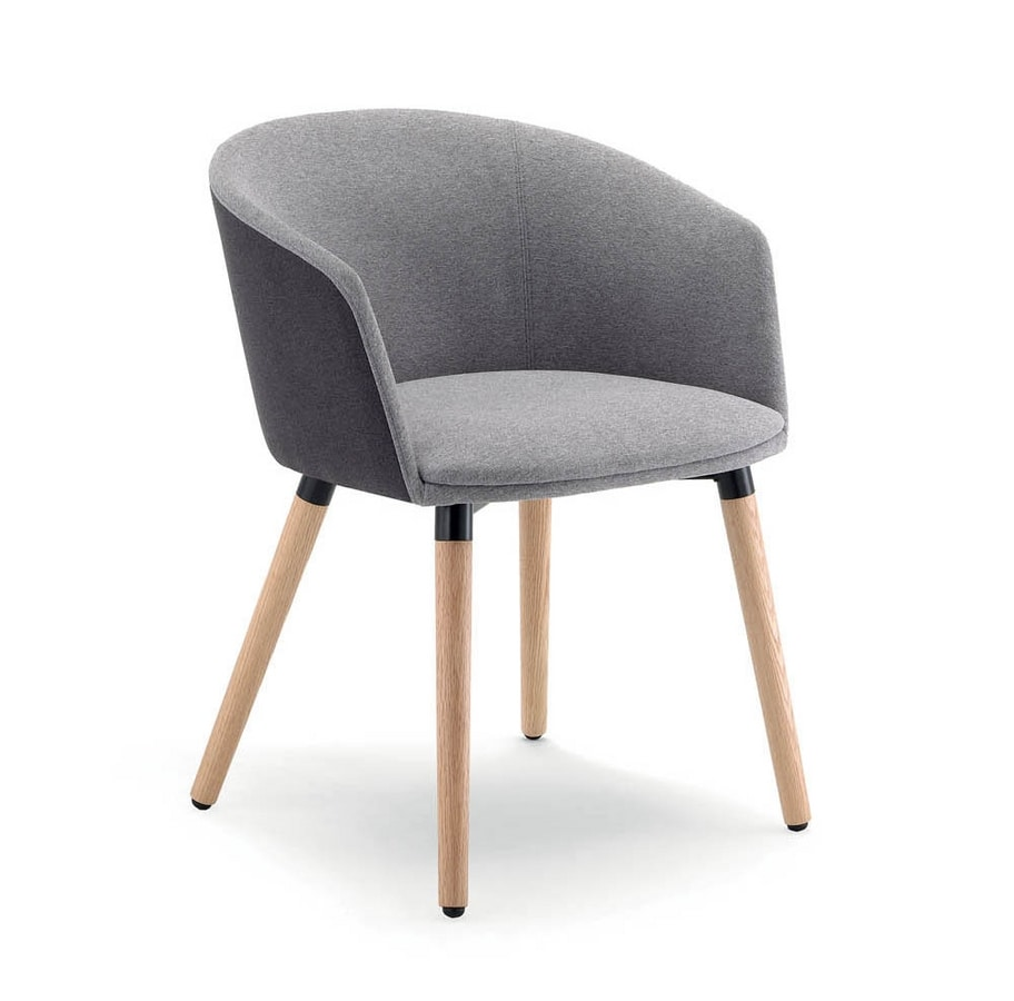 UF 188 - WOOD, Armchair with wooden legs