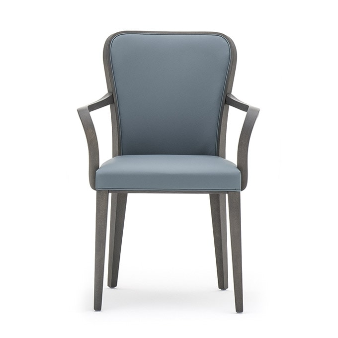 Wave 02721, Wooden chair with armrests ideal for dining room