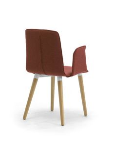 Zerosedici 4G wood, Upholstered modern chair with wooden conical legs