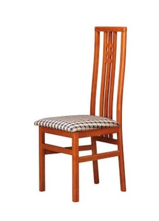 301, Chair with fabric seat, high backrest with vertical slats