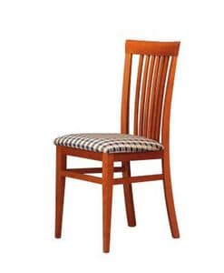 315, Chair for living room, fabric seat, slatted backrest