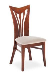 Button ST, Elegant chair with backrest with curved vertical slats