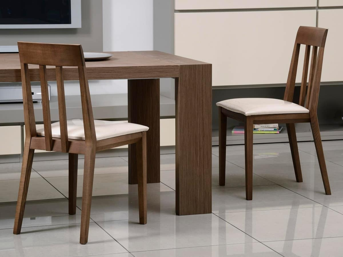 Complements Chair 01, Wood chair, upholstered seat, backrest with vertical slats
