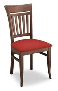 Gloria ST, Chair in beechwood, backrest with vertical slats
