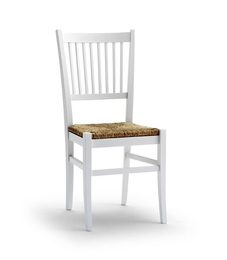 TIFFANY, Chair with straw seat and vertical design backrest