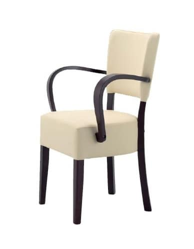 302, Wooden chair with padded seat and backrest