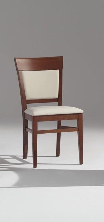 313 BIS, Beech chair with padded seat and back.