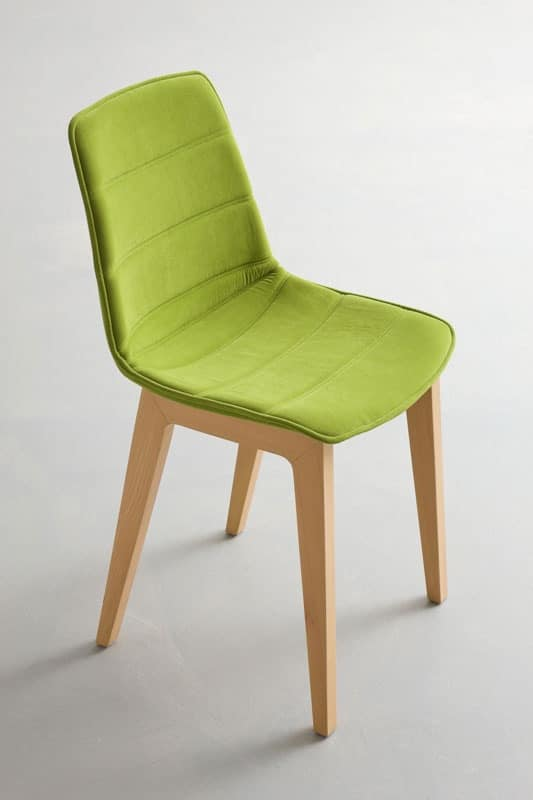 Alhambra BL dress, Chair with beech base, upholstered shell, for conference