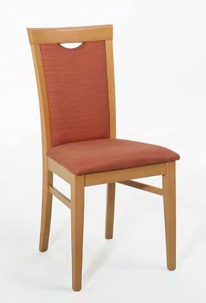 Anna, Chair with wooden frame, padded, with handle