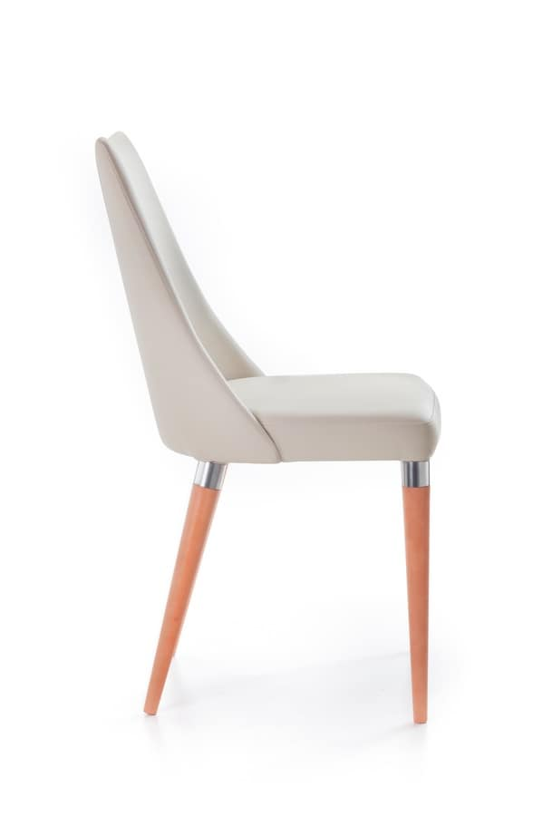 Biancade, Chair with wooden legs with metal ring, for bar