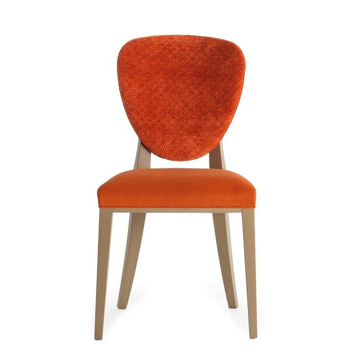 Cammeo 02611, Solid wood chair, upholstered seat and back,  fabric covering, modern style