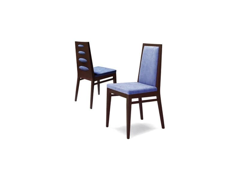 D01, Chair in beech wood, upholstered seat, for contract use
