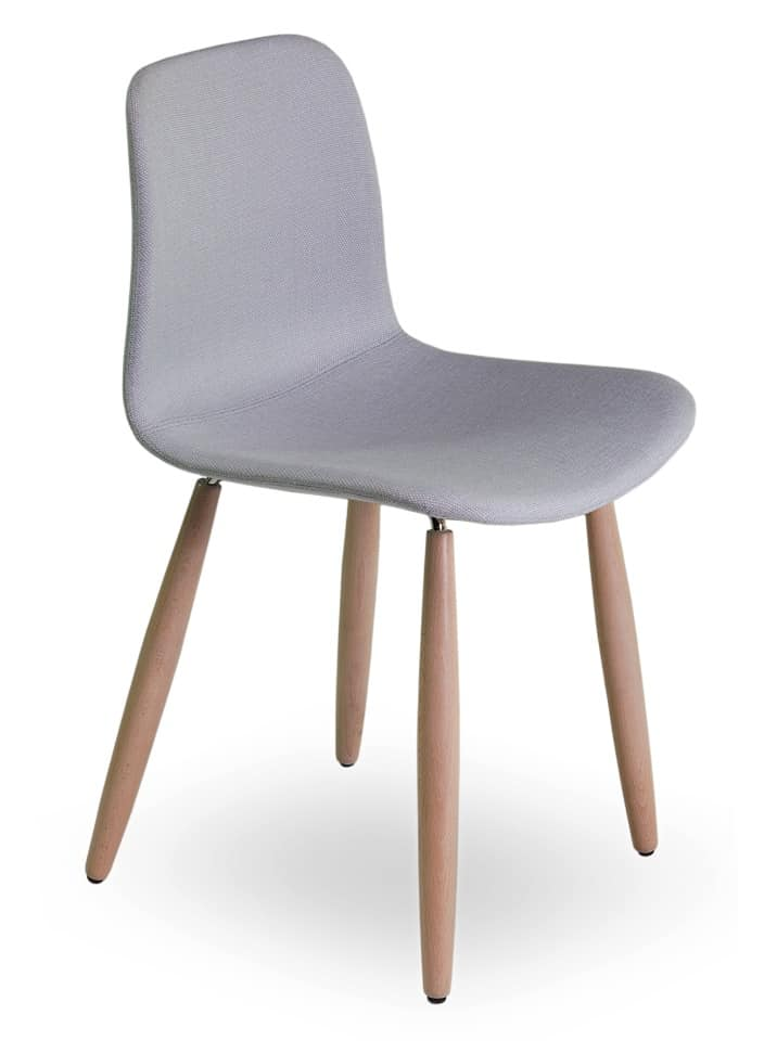 Dama UPW, Chair with beech legs, and shell covered in fabric