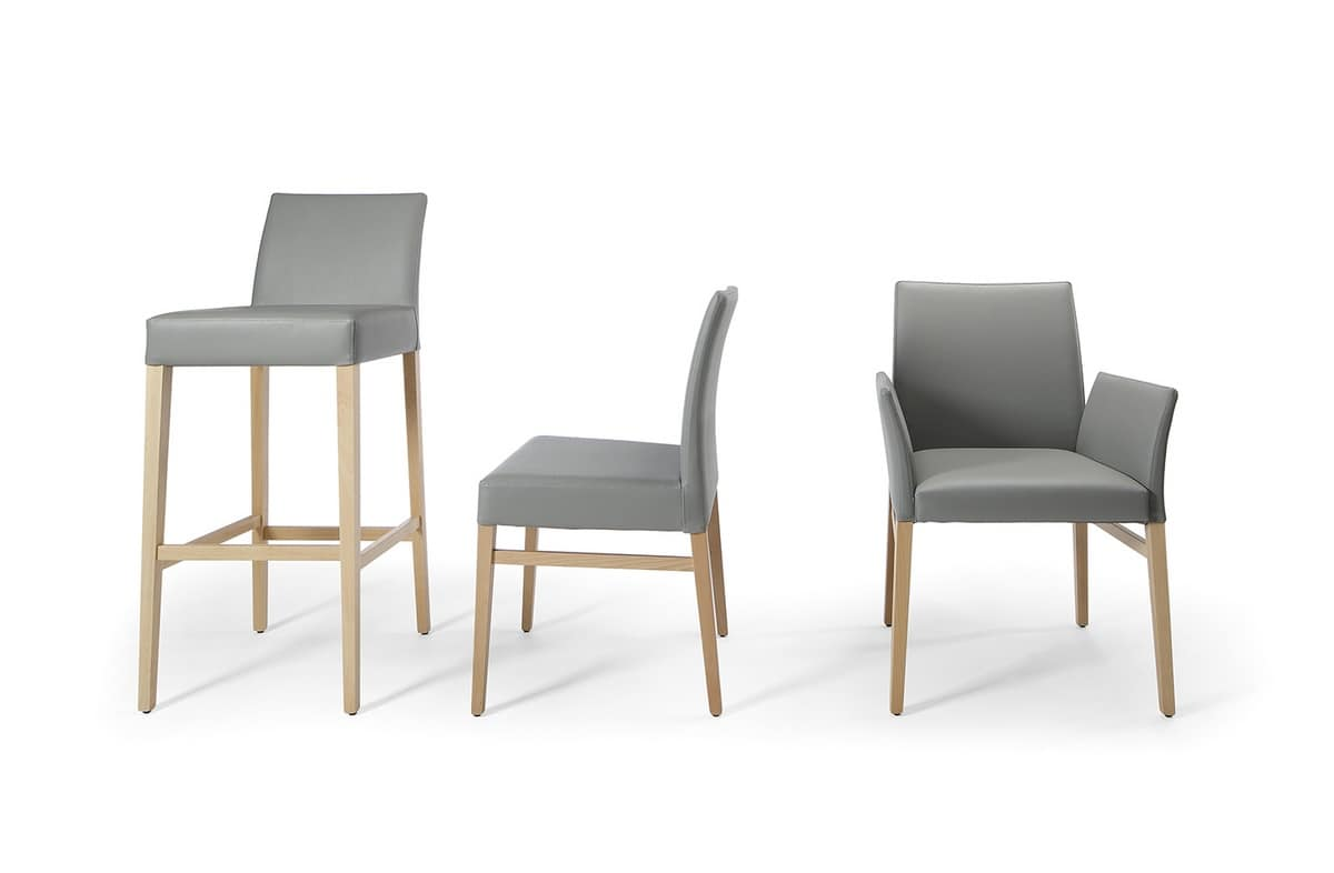 Eva, Padded chair, upholstered in leather, for dining room