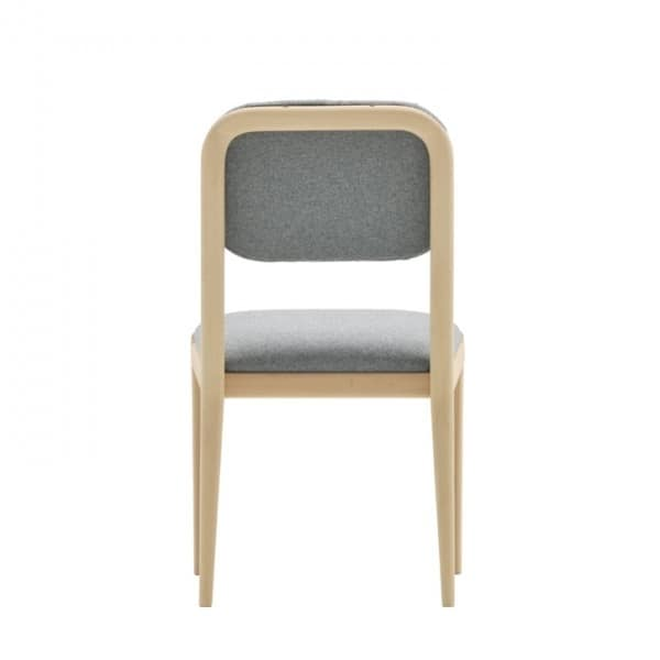 Garbo 03111K, Modern chair in solid wood with tufted backrest