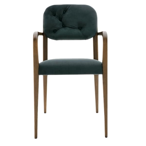 Garbo 03121K, Modern wooden chair with armrests, with backrest quilted